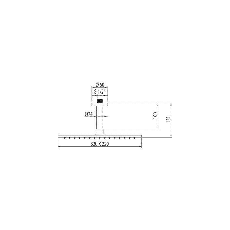 Rociador 32x22 con brazo de ducha a techo tres for Rociadores ducha empotrados techo