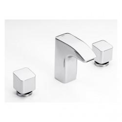 Grifo Bimando lavabo desagüe automático Thesis Roca Grifería.