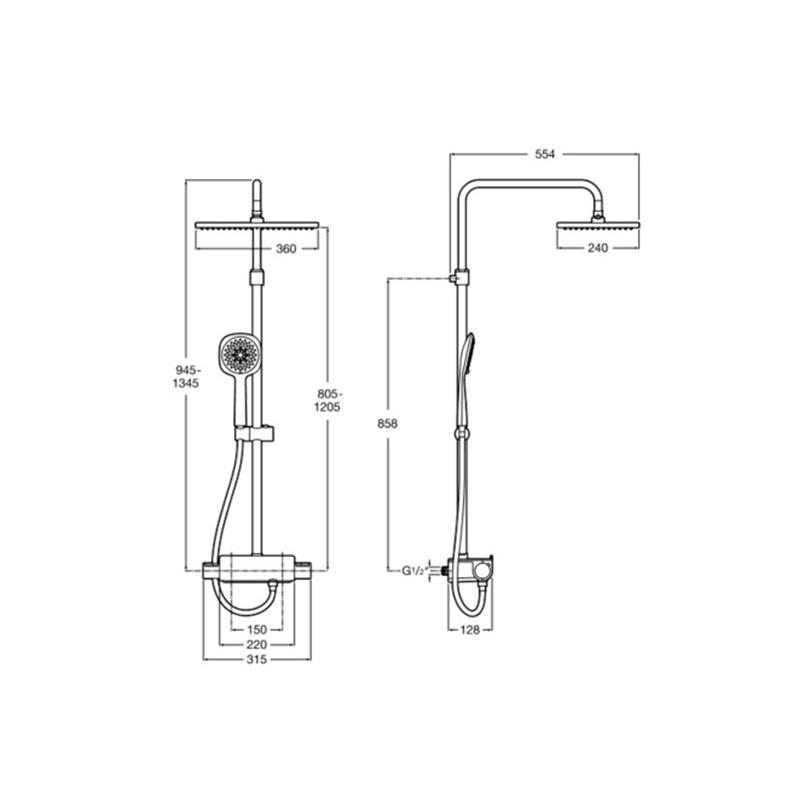 Conjunto ducha termostática Deck-T Square Roca Grifería. b3eaa88aa242
