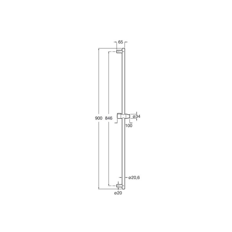 Barra de ducha minimal 90 cm con soporte regulable roca for Soporte para ducha sin taladrar