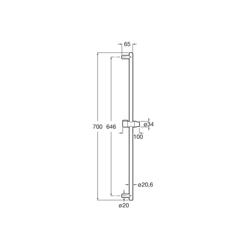 Barra de ducha minimal 70 cm con soporte regulable roca for Complementos de ducha