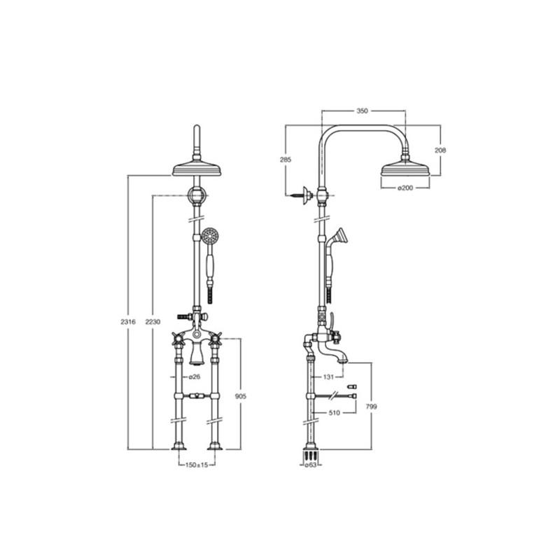 Griferia Para Baño Bimando:Bimando baño-ducha a suelo con columna Florentina Roca Grifería
