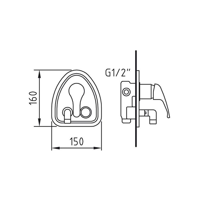 Mezclador empotrable de 1 2 para ducha con codo giratorio for Grifo ducha empotrado