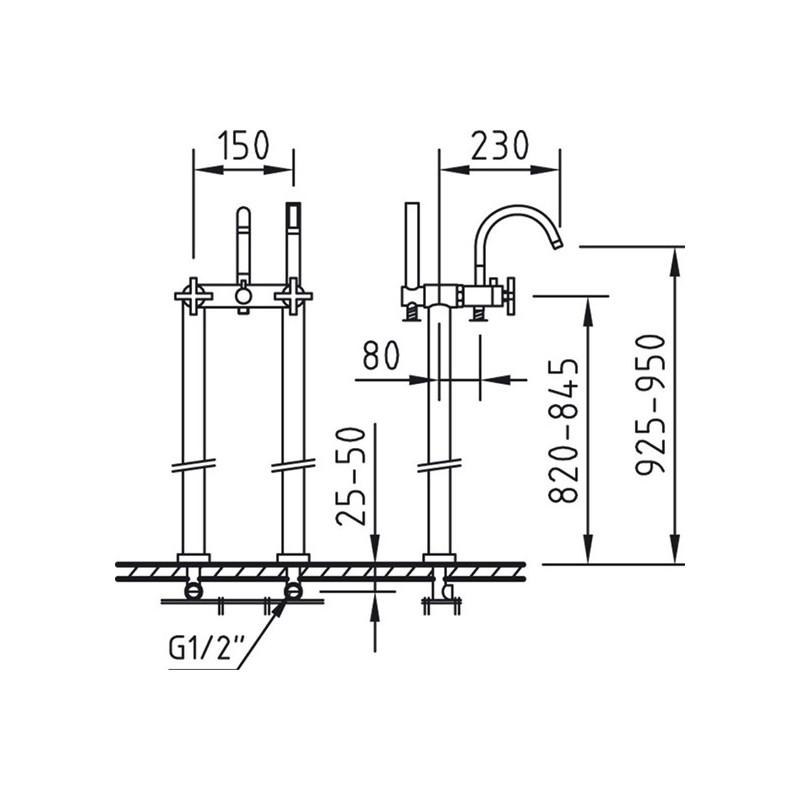 Grifo mezclador ba o ducha a suelo morea xtreme with2 for Grifo mezclador ducha