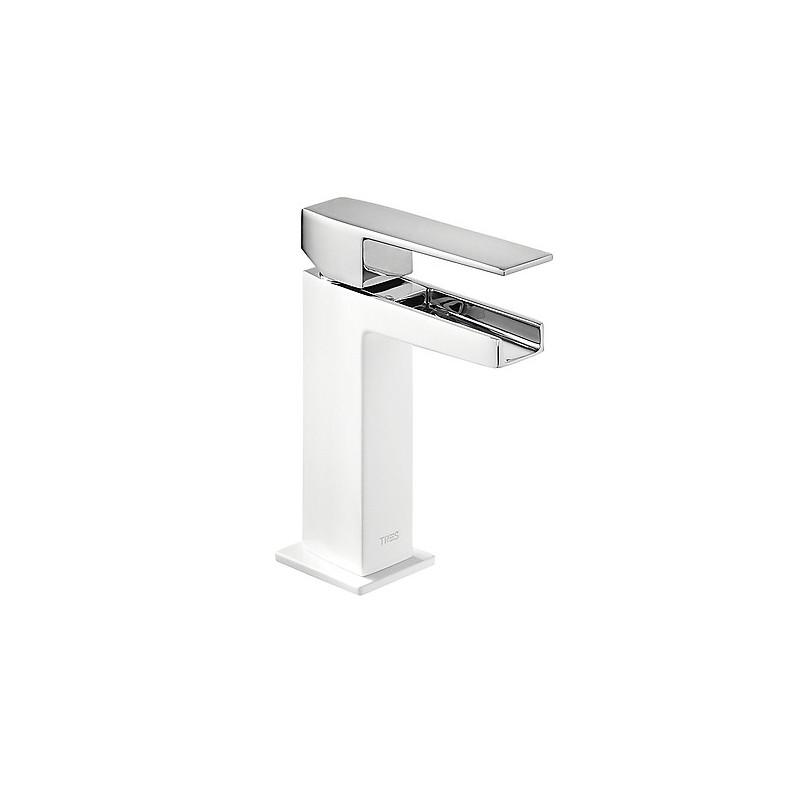 Monomando lavabo Slim-Tres blanco-cromo con caño cascada libre.